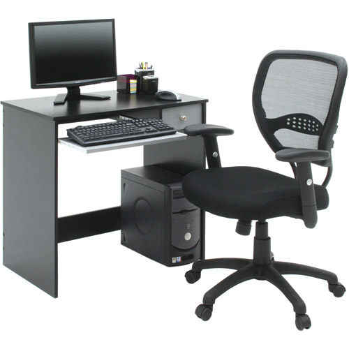 Home Office Computer Desk Black And Gray Walmart Com