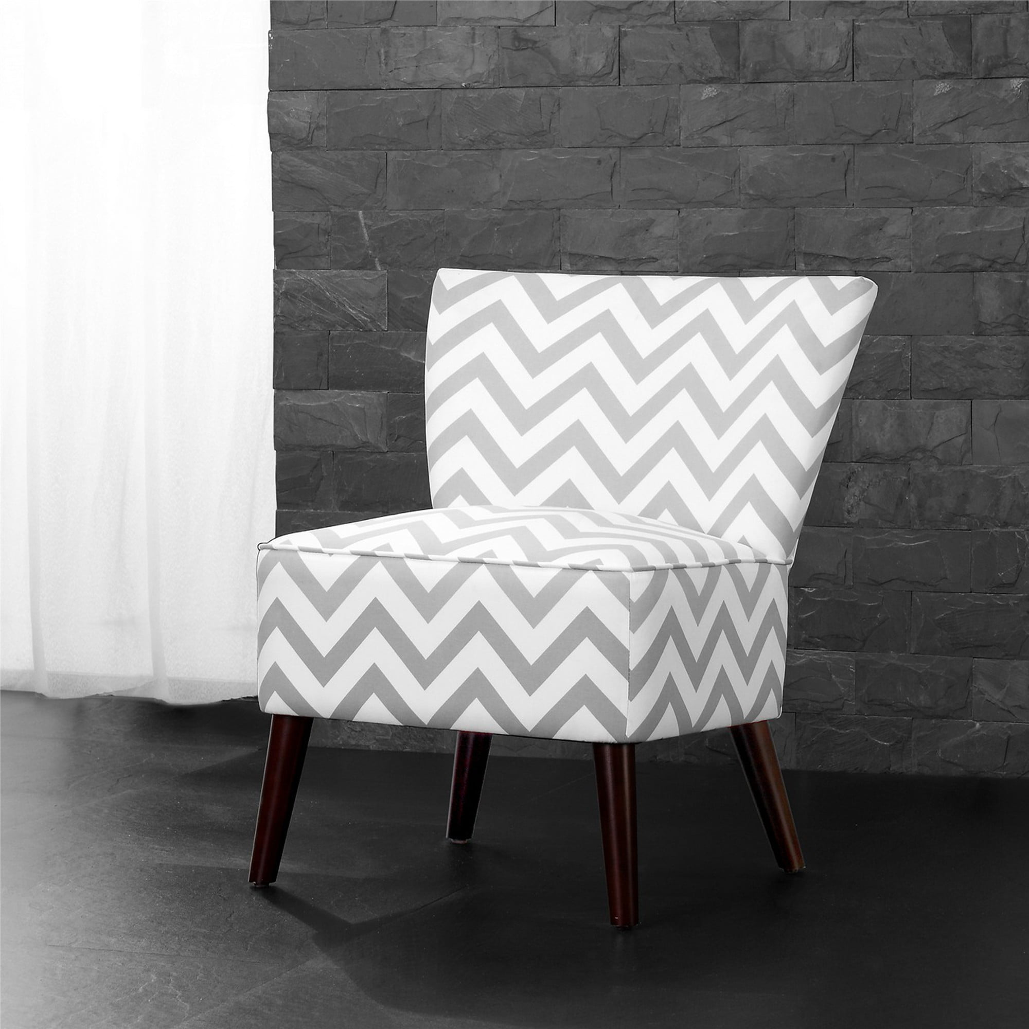 Marvelous Dorel Living Kinsley Chevron Accent Chair Gray And White Walmart Com Machost Co Dining Chair Design Ideas Machostcouk