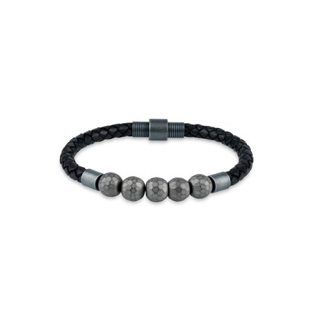 5 Grey Hematite Beads 316L Stainless Steel Leather Braided Bracelet, 8.5