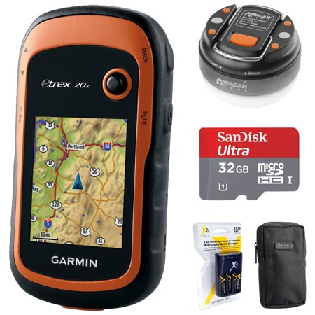 - Garmin eTrex 20x Handheld GPS (010-01508-00) with 32GB Accessory Bundle Includes, 32GB Memory Card, LED Brite-Nite Dome Lantern Flashlight, Carrying Case & 4x Rechargeable AA Batteries w/ Charger