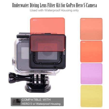 Waterproof Housing Kit - Underwater Diving Lens Filter Kit for GoPro Hero 5 Camera Used with Waterproof Housing only