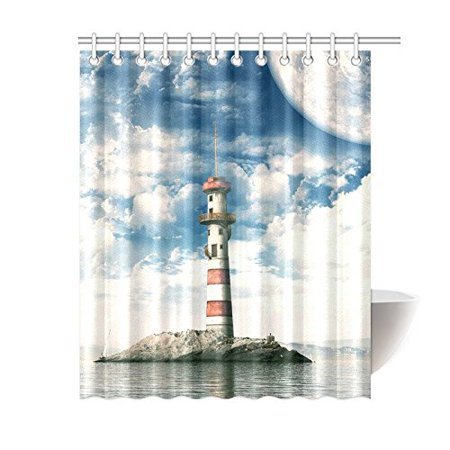 WOPOP Lighthouse Bathroom Waterproof Fabric Shower Curtain 60x72 Inches