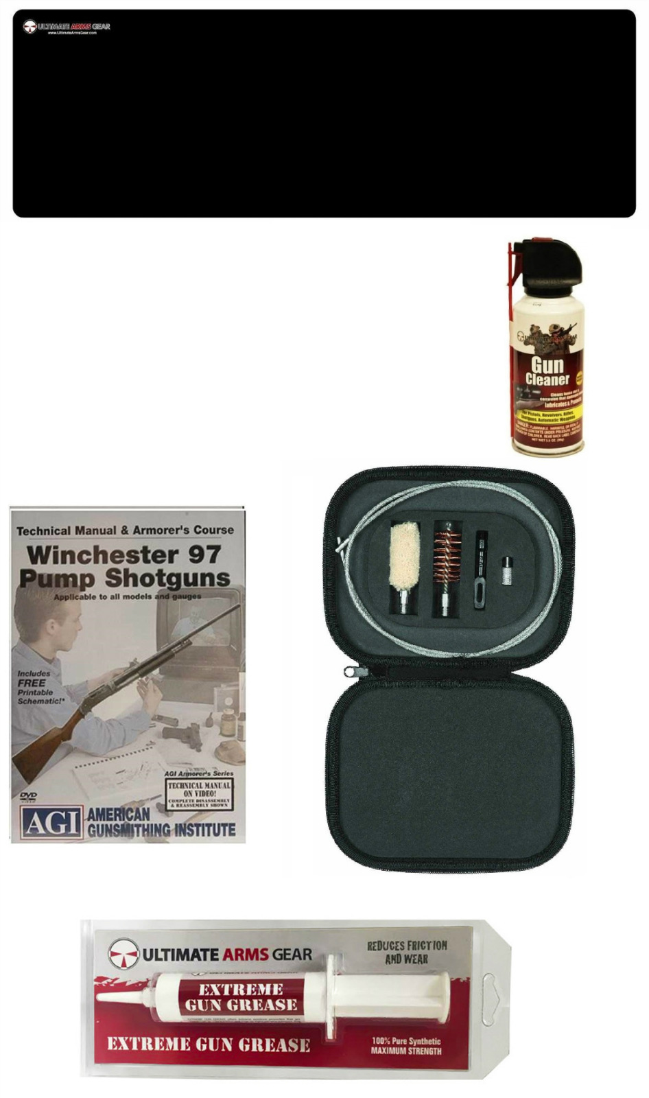 AGI DVD Manual Course Winchester 97 Pump Shotgun + Ultimate Arms Gear Gunsmith Cleaning Gun Mat + Cleaning Tube Chamber... by