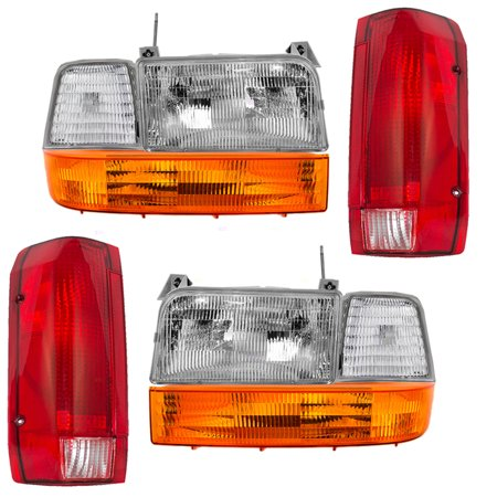 8 Pc Set Headlights, Taillights w/ Park Signal Corner & Side Marker Lamps Replacement for Ford Bronco F150 F250 F350 Styleside Pickup Truck