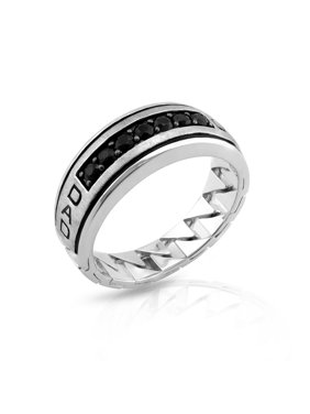 Sterling Silver Treated Black Sapphire Dad Mens Ring