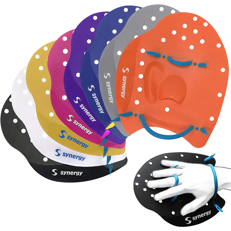 Synergy Hand Paddles for Swim Training (Black, Large)