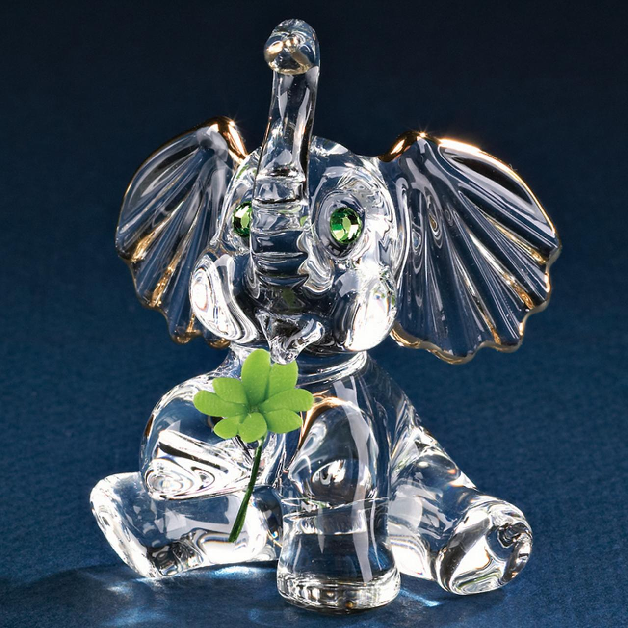 Good Luck Elephant Glass Figurine Pet Animal Glas Baron For Women