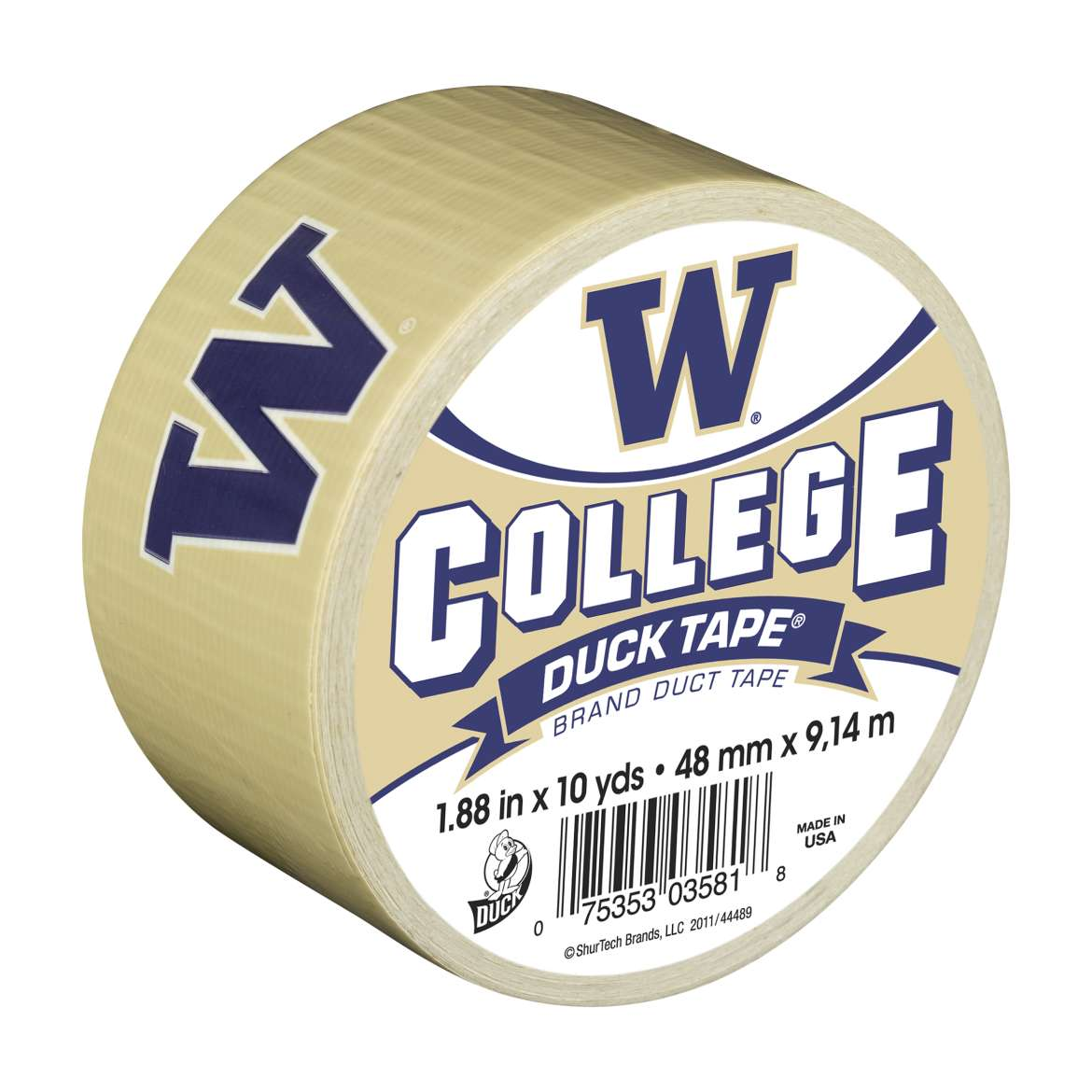 Duck Brand College Logo Duct Tape, 1.88 in. x 10 yds., Washington
