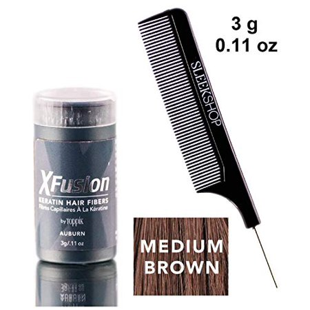 Xfusion KERATIN HAIR FIBERS (Stylist Kit) X-Fusion Fills in Thinning Areas, Concealers Hair Loss, Creates Thick, Full Hair X Fusion (MEDIUM BROWN - Travel Size, 3 grams)