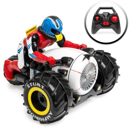 Best Choice Products 2.4Ghz Kids Amphibious Remote Control Stunt Motorcycle Toy for Land, Water, & Snow w/ All-Terrain
