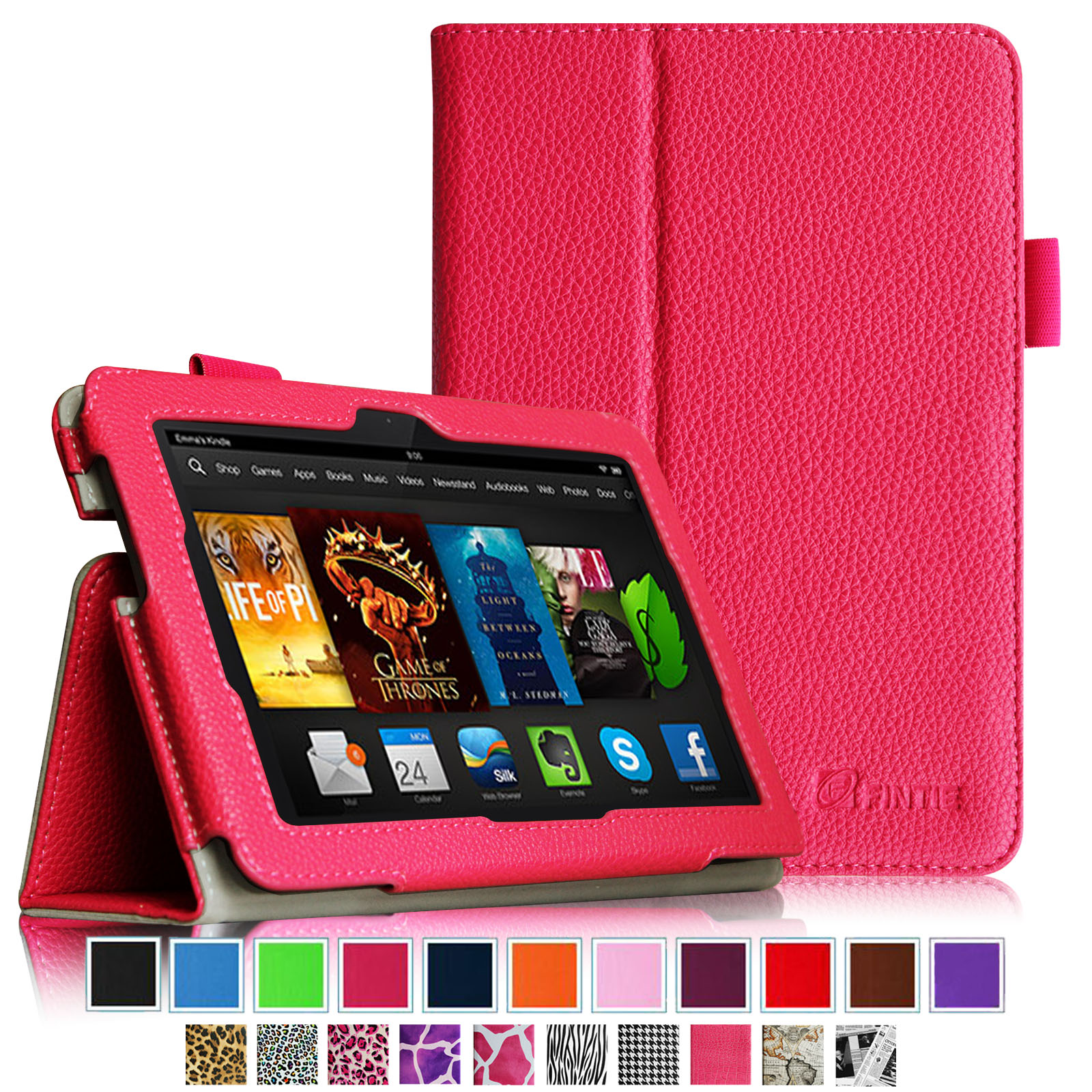 "Fintie Kindle Fire HDX 7 Folio Case Cover - Auto Sleep/Wake (will only fit Kindle Fire HDX 7"" 2013), Magenta"