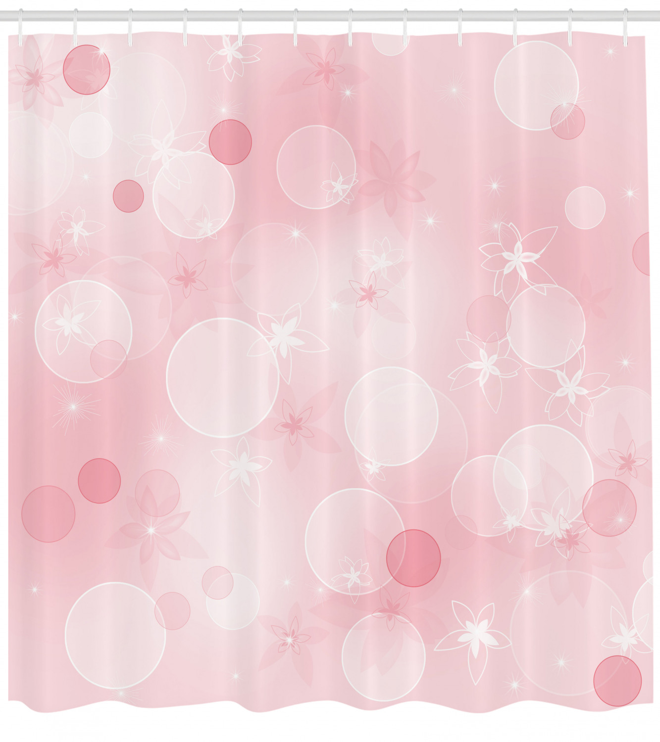 Light Pink Shower Curtain Floral Background With Hazy Bubbles And