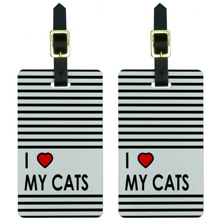 I Love Heart My Cats Luggage Tags Suitcase Carry-On ID, Set of 2