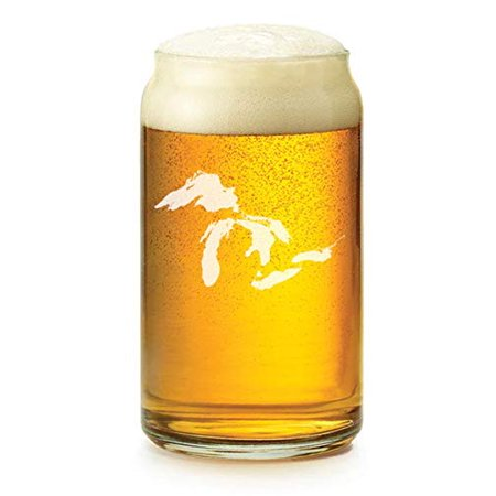 16 oz Beer Can Glass Great Lakes Michigan