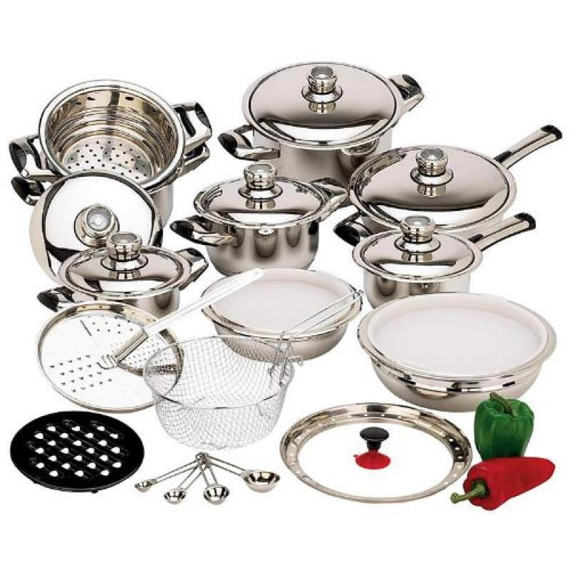 28-Piece 12-Element Stainless Steel Waterless Cookware Set
