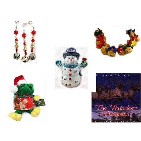 Christmas Fun Gift Bundle [5 Piece] - Set of 3 Jingle Bell Dangle Ornaments - String of Gingerbread  w/ Wood Stars & Hearts 4.5' Feet  - Westland Giftware XOX Love Snowman Figurine 6