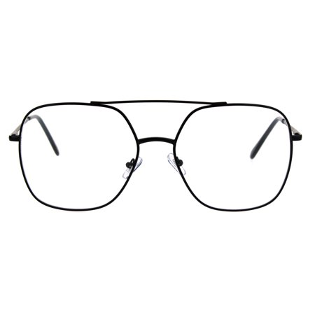 Nerdy Ironic Granny Oversized Rectangle Metal Rim Eye Glasses (Nerdy Black Glasses)