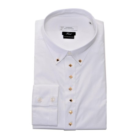 8b3b77a2 Versace Collection Trend Mens Cotton Dress Shirt V300124 White IT44 US17.5
