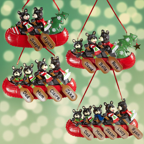 Personalized Bear Family in Canoe Ornament, Personalize Up to 5