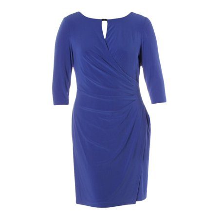 Lauren Ralph Lauren Womens Faux Wrap Knee-Length Wear to Work Dress