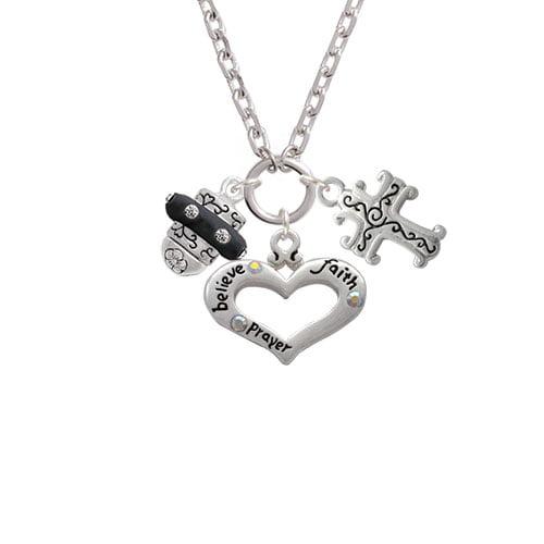 Crystal Black Spinner Believe Faith Prayer Heart and Scroll Cross Zoe Necklace