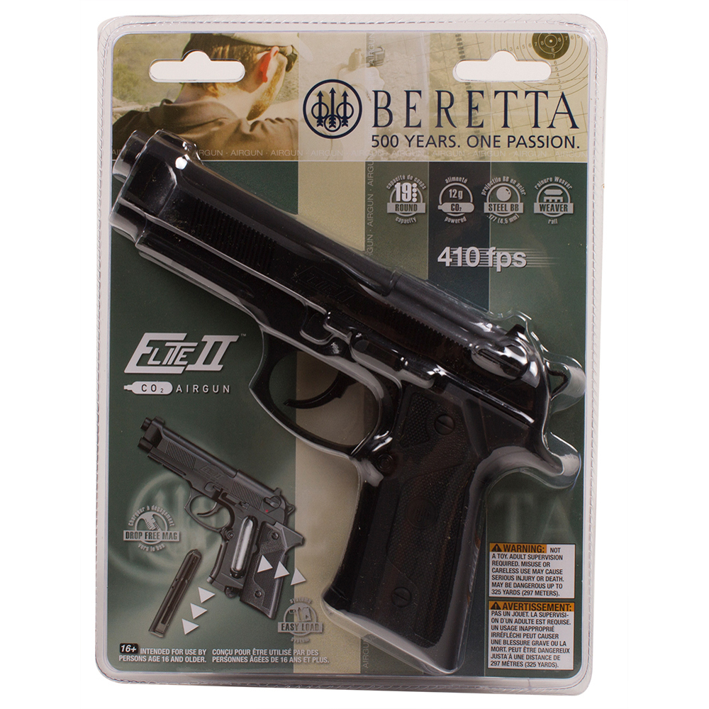 Beretta Elite II 2253003 BB Air Pistol 410fps 0.177cal 19 Ro