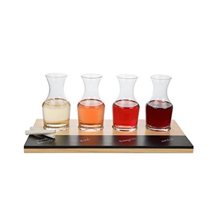 Wine Tasting Flight Sampler Set - 4 - 6oz Decanter Glasses w Paddle, Chalkboard and Chalk
