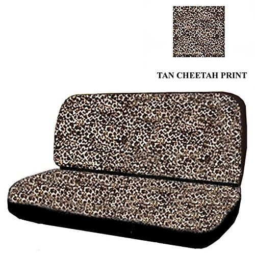 Unique Imports Car Truck SUV Cheetah Tan Rear Bench or Truck Seat Covers Black 2Pcs