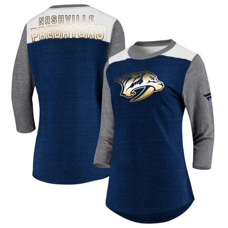 Nashville Predators Fanatics Branded Women's Iconic Tri-Blend 3/4-Sleeve T-Shirt - Heathered Navy/Heathered Gray - Adult Stores Nashville