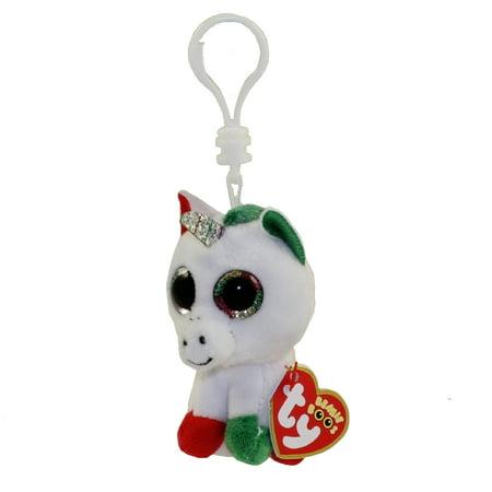 TY Beanie Boos - CANDY CANE the Unicorn (Glitter Eyes) (Plastic Key Clip) - Ty Keychains