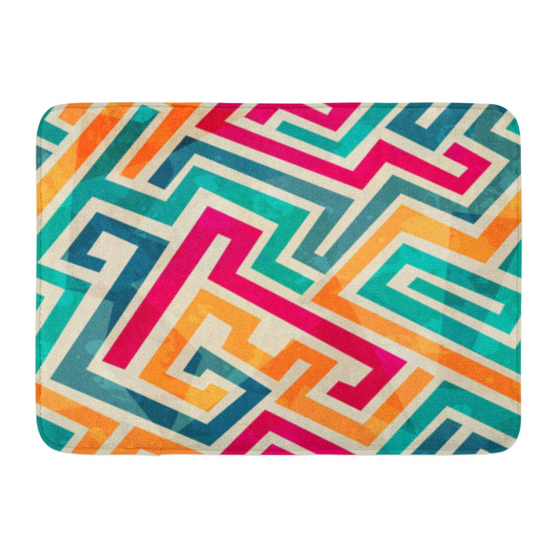 Vintage Effect Rug: GODPOK Colorful Fun Green Retro Colored Lines Grunge