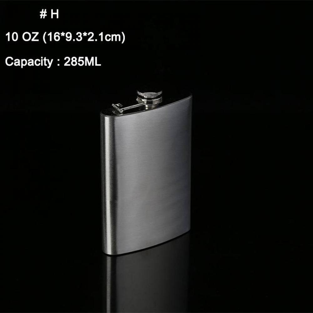 1-10oz Hip Flask Stainless Steel Pocket Drink Whisky Flasks Funnel Silver Retro