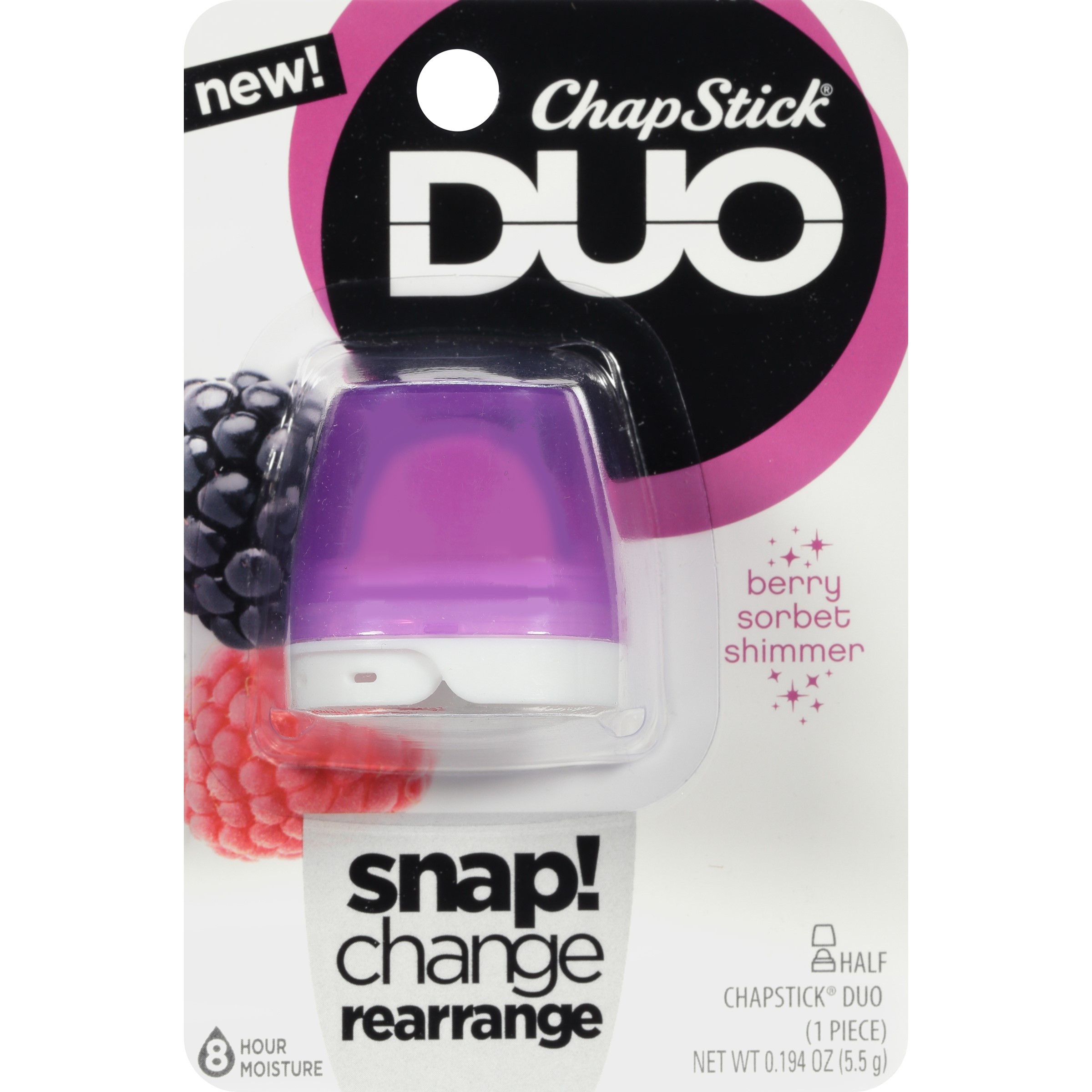 (3 pack) ChapStick Duo Blister Card, Berry Sorbet Shimmer, 0.2 Oz