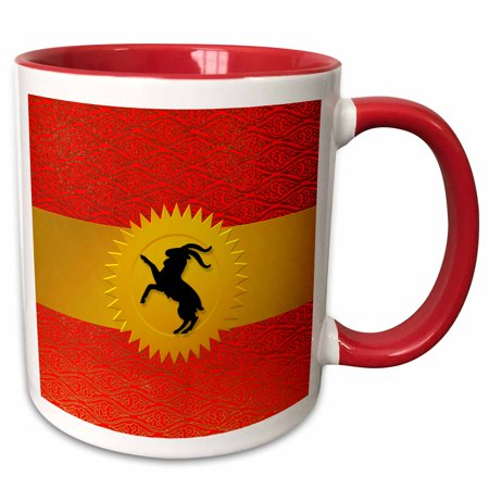 3dRose Chinese Zodiac Year of the Goat Sheep or Ram in Chinese Red - Two Tone Red Mug, 11-ounce