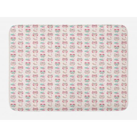 Owls Bath Mat, Lovely Good Night Themed Owls Pattern Ornate Style with Stars Moon and Clouds, Non-Slip Plush Mat Bathroom Kitchen Laundry Room Decor, 29.5 X 17.5 Inches, Pink Seafoam Tan, Ambesonne (Owl Themed Classroom)