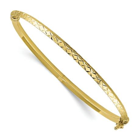 14k Yellow Gold Polished Diamond Cut Hinged Bangle Bracelet