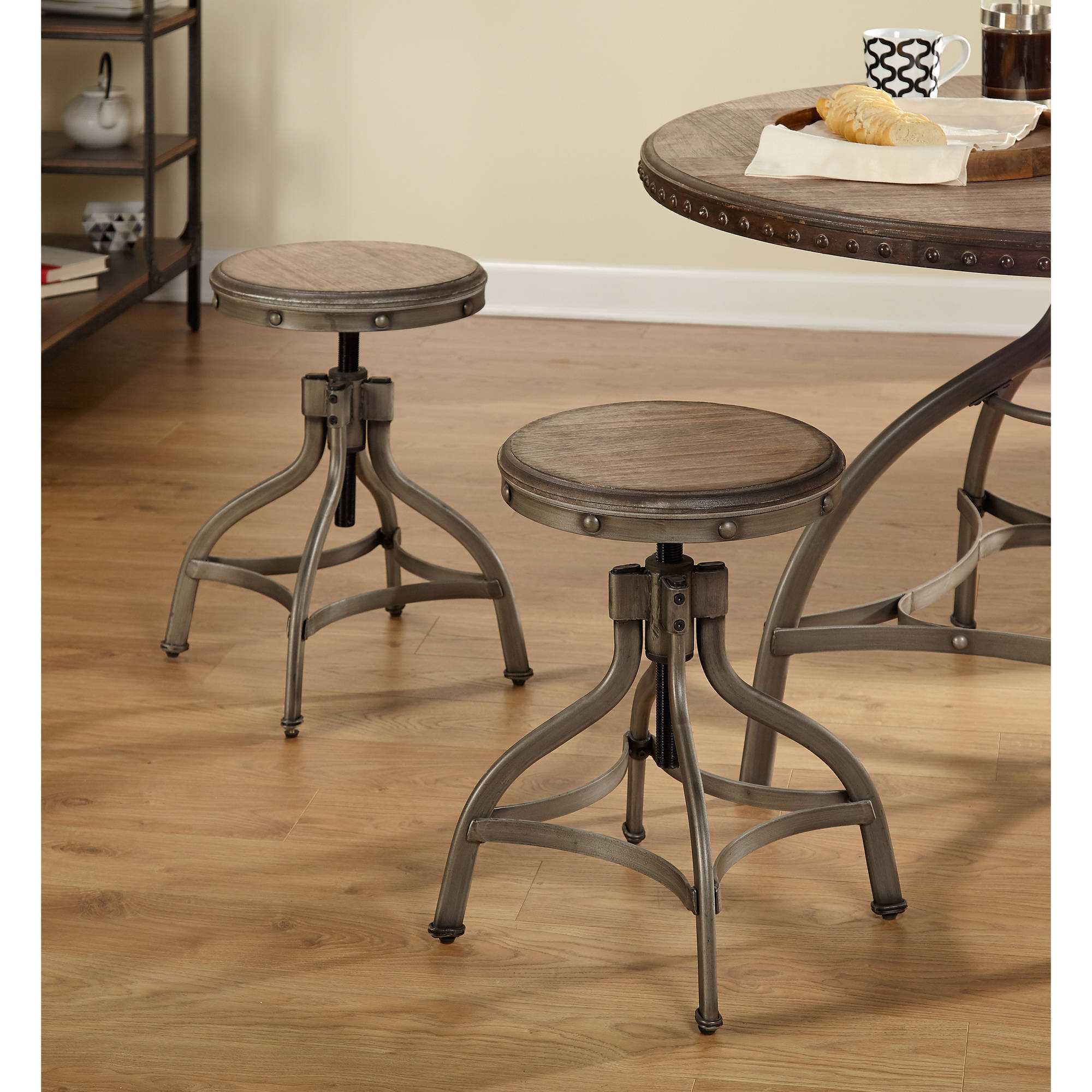 Decker Adjustable Height Swivel Barstool With Nailhead