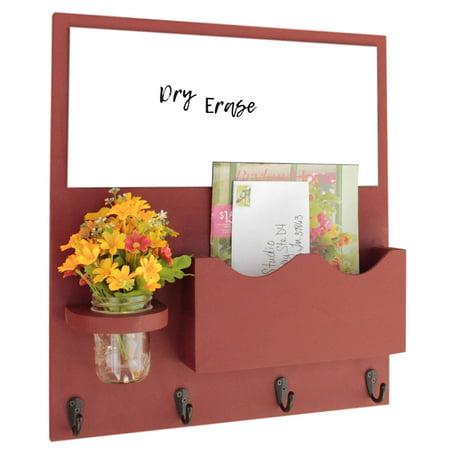 Mail Organizer With Whiteboard One Large Magazine Slot Key Hooks Mason Jar