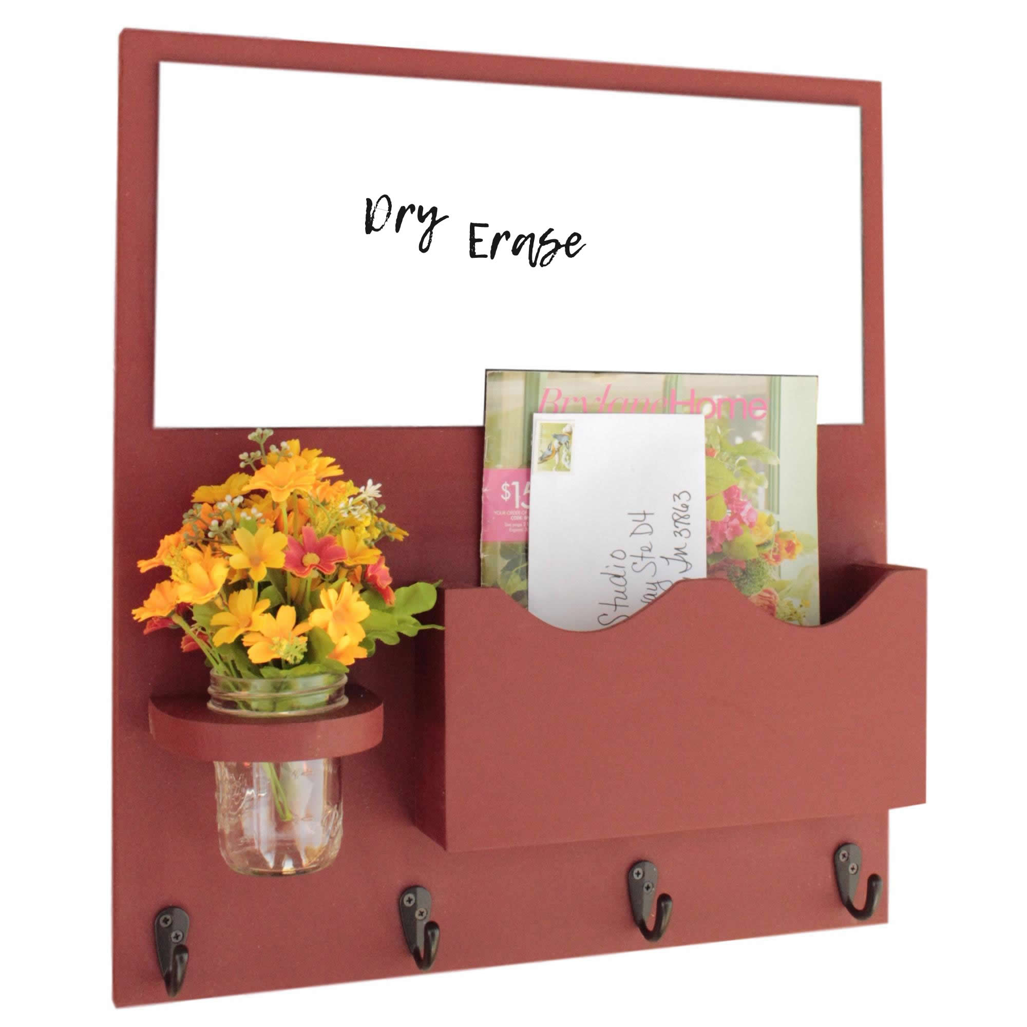 Mail Organizer with Whiteboard, One Large Magazine / Mail Slot, Key Hooks & Mason Jar