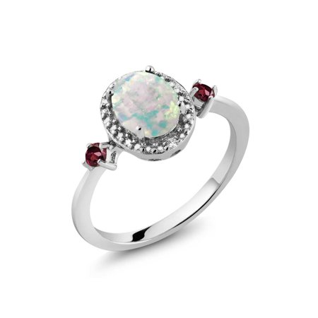 1.24 Ct Simulated Opal Rhodolite Garnet 925 Sterling Silver Ring Accent Diamond