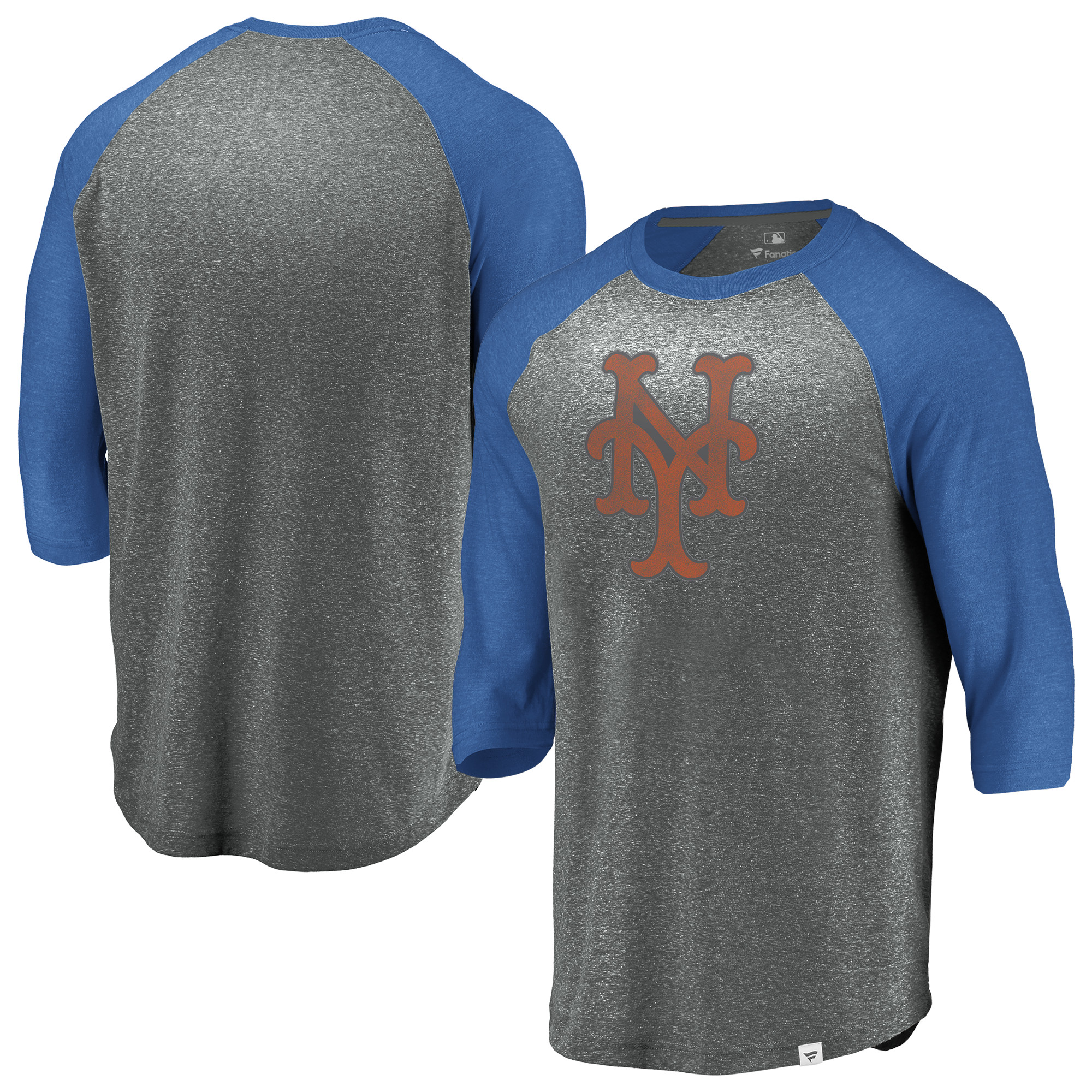 New York Mets Fanatics Branded Cooperstown Collection Massive Devotees Tri-Blend Raglan 3/4-Sleeve T-Shirt - Heathered Gray/Royal