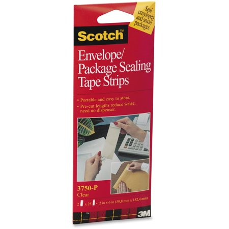 Scotch, MMM3750P2CR, Envelope/Package Sealing Tape Strips, 2 / Pack, Clear](Clear Decorating Strip)
