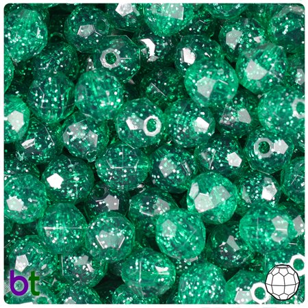 10 Mm Faceted Glass - BeadTin Emerald Sparkle 10mm Faceted Round Craft Beads (210pcs)