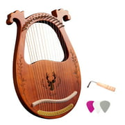 16-String Wooden Lyre Harp Resonance Box String Instrument with Tuning Wrench 3pcs Picks