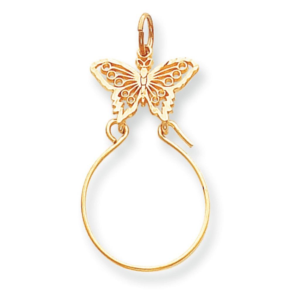 Gemaffair 14K Yellow Gold Butterfly Charm Holder - 40mm