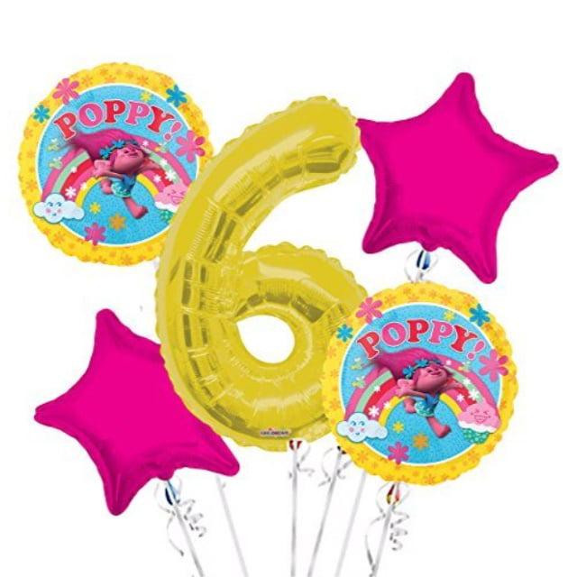 Trolls Balloon Bouquet 6th Birthday 5 pcs - Party Supplies