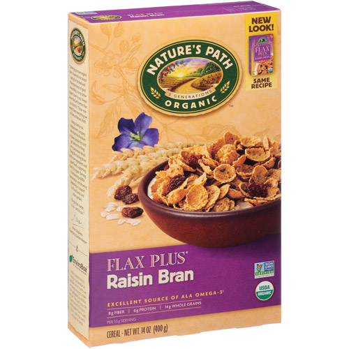 Nature's Path Organic Flax Plus Raisin Bran Cereal, 14 oz, (Pack of 12)