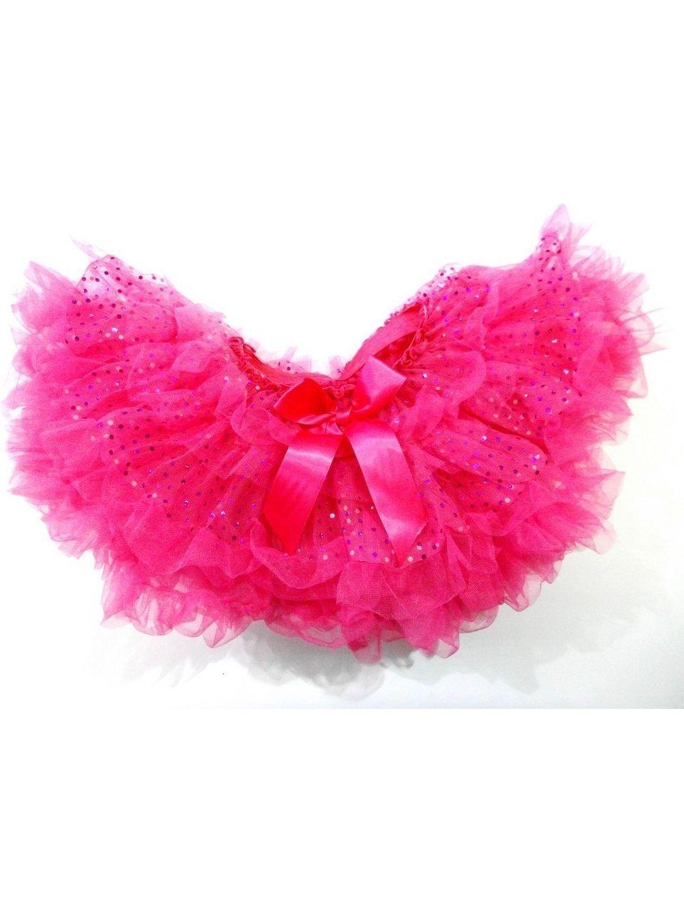Hot Pink Sparkle Fluffy Tutu Skirt Girls L