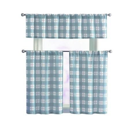 Vcny Plaid Declan 3 Pc Kitchen Curtain Tier Valance Set Light Blue