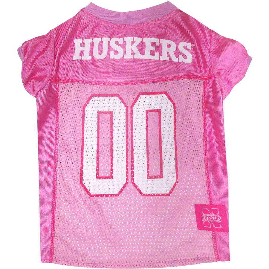 Pets First College Nebraska Huskers Pet Pink Jersey, 4 Sizes Available